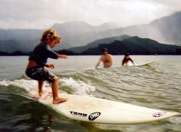 Photo of Wiamea, Jamilah's son, surfing 2012