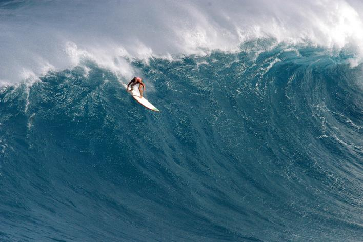 Jamilah Star riding a huge wave in 2012