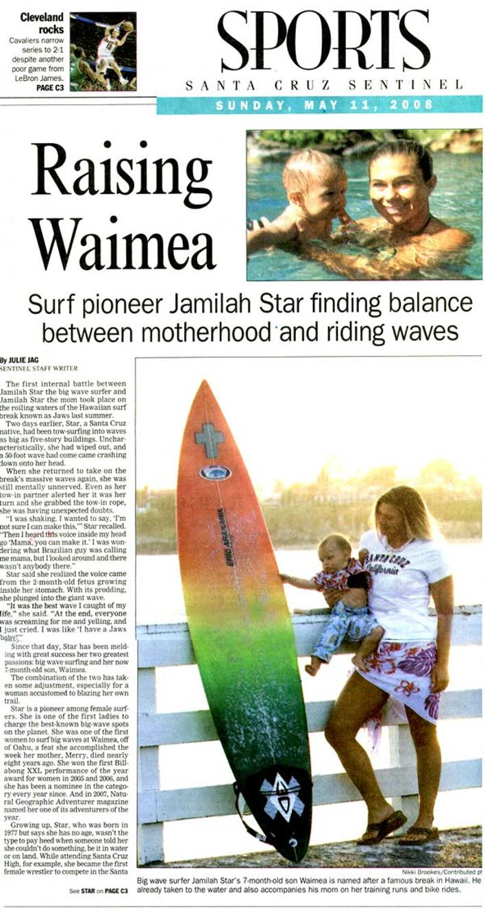 Newspaper Cover story on Jamilah and son, Waimea